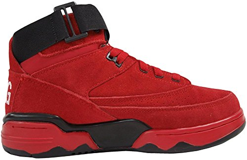 Patrick Ewing Mens 33 Mid Leather Trainers Rouge Noir