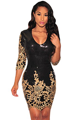 Schwarz Victorian Gold Paillette 3/4 Ärmeln Bodycon Mini kleid Damen mit reisverschluss (L, As shown) - 3