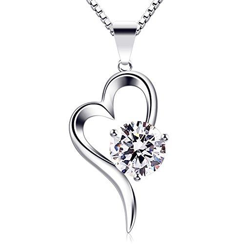 B.Catcher Herz Halskette Damen 925 Sterling Silber Anhänger 'Liebe auf den ersten Blick' Zirkonia Schmuck 45CM Kettenlänge Geschenk für Damen