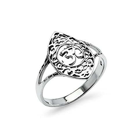 OEM Filigree Sterling Silver Oval Band Ring, Charm Friendship Promise