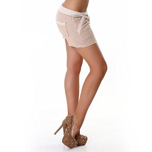Panacher Shorts Dames Bermudas Shorty pantacourt Avec Poche Frotte Sports Et Loisirs plusieurs couleurs Beige