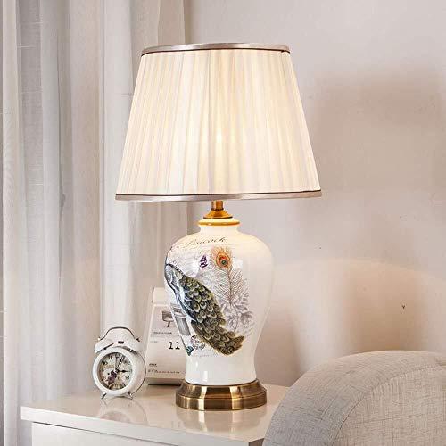 ZHAO YING Minimalistische weiße Pfauenmuster Tischlampe, Schlafzimmer Nachttischlampe, schlanke minimalistische LED-Lampe, Stoff Lampenschirm Keramik Tischlampe (Color : White) - Handbemalte Mini-lampe