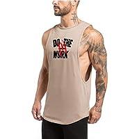 WICHENG Los Hombres Superiores de la Aptitud for Hombre tiburón Gimnasio Tanque Aptitud Camiseta sin Mangas de algodón de Deportes Masculino Transpirable Chaleco Chaleco Undershirt Running