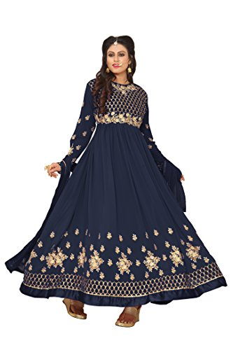 Ethnic Yard Latest Faux Georgette Party Wear Anarkali Salwar Kameez (Navy Blue)