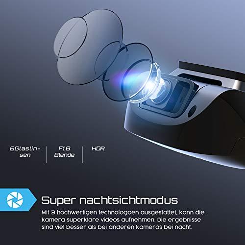 Crosstour Dashcam 1080P Full HD Vorne und Hinten Dual Lens, Externe GPS Auto Kamera, 170 ° Weitwinkelobjektiv HDR Nachtsicht, Bewegungserkennung G-Sensor Loop-Aufnahme - 3