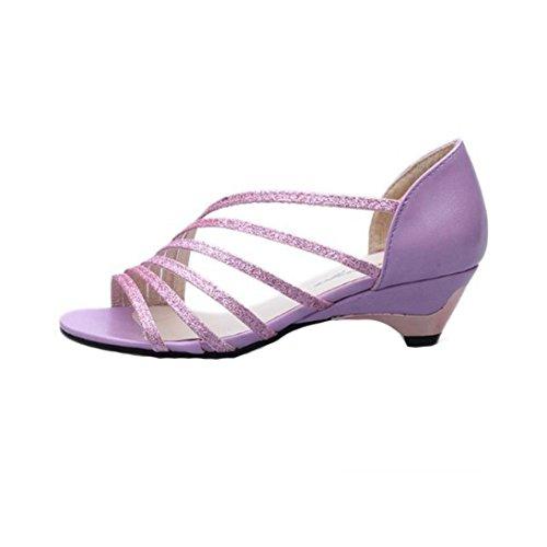 Bescita Outdoor Fashion Ausschnitte Frauen Sandalen Open Toe niedrige Keile Sommer Schuhe Badeschuhe Lila