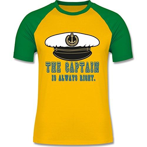 Statement Shirts - The Captain is always right - zweifarbiges Baseballshirt für Männer Gelb/Grün