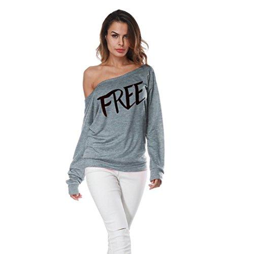SEWORLD Damen lose Oberteile T-Shirt, Frauen Übergröße Lange Hülse Weg vom Schulter Pullover Damen Buchstabe Druck Lose Sweatshirt beiläufige Pullover Mantel Tops Bluse(S-3XL) (S, Grau 2#)
