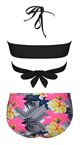Aixy Frauen Gepolsterte Cross Bikini Set Badeanzüge Push-up Bademode Schwarz
