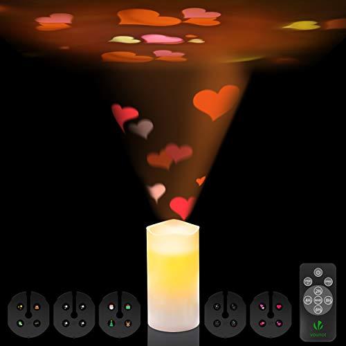 Bougie LED rechargeable | Bougie lumineuse LED avec projection d'images | Projecteur LED 5 recharges incluant 20 images | Bougie LED avec télécommande pour contrôler la vitesse de