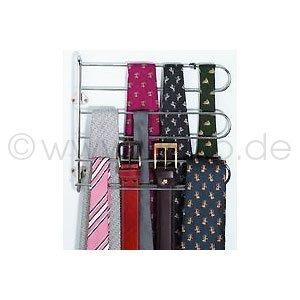 Krawattenhalter und Gürtelhalter, 90 ° schwenkbar aus Metall vernick. , inkl. Schrauben, Möbelzubehör, BxHxT=320x275x45 mm