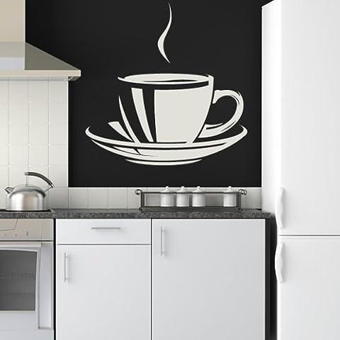 Decorative tazza di caffè Wall Sticker caffè Adesivo Art disponibile in 5 dimensioni e 25 colori Grande Verde foglia