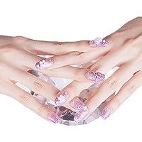 24 unidades romántica White Floral larga Artificial falsa brillantes clavos Lila parpadeo Powder Nails Decor