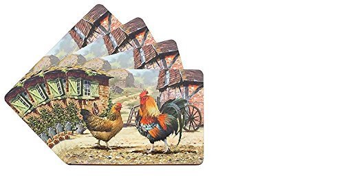 The Cockerel and Hen - Set of 4 Placemats