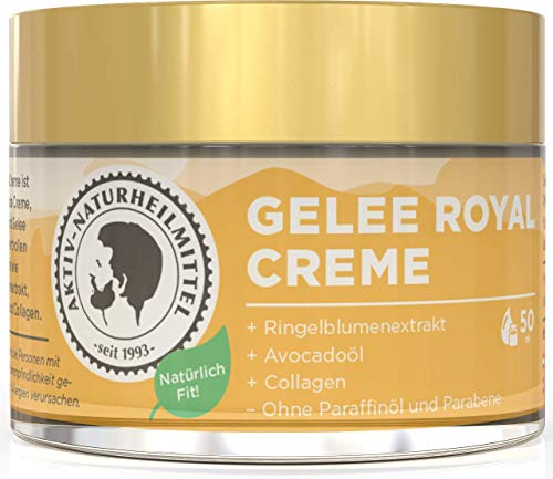 Aktiv Naturheilmittel Gelee Royale Anti Aging Hautcreme & Gesichtscreme 50ml   Frei von Parabene & Paraffine mit Collagen   Rein, Hochwertig und 100% echt aus Deutschland