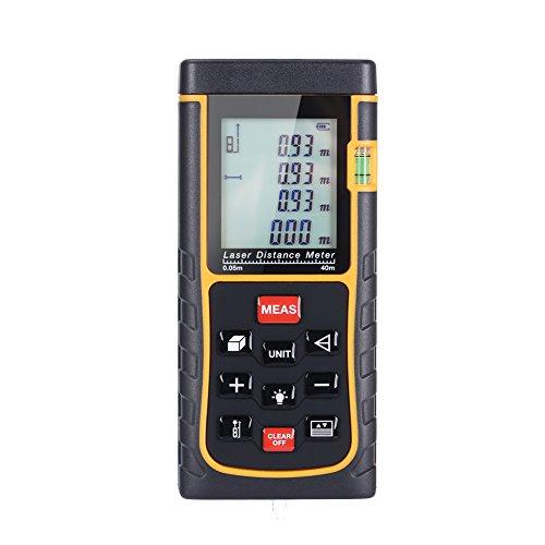 GHB 40m Professional Laser Entfernungsmesser Distanzmessgerät mit LCD Hintergrundbeleuchtung für Distanz Flächen Volumen Messbreich 0.05~40m/±2mm