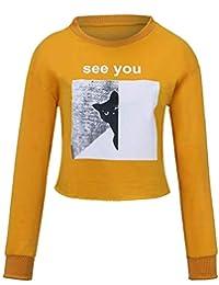 f481f49e2e6b02 Jaminy Damen Katze drucken Herbst Winter Sweatjacke Sweatshirt Oberteil  Pullover Mode Langarmshirt Mantel Tops S-