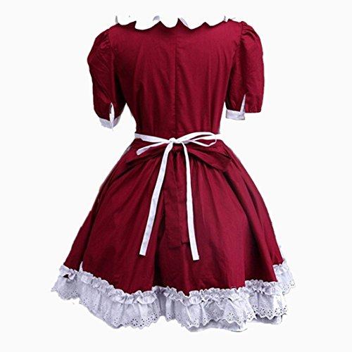 partiss femmes coton avec couches multiples Lolita Robe Rouge - Bordeaux