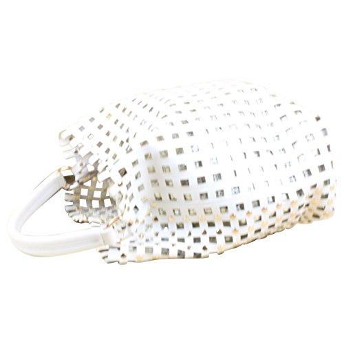 Tasche Schultertasche Cube Bag Lack Kunst Leder Silber Nieten , Farbe:Weiß Weiß