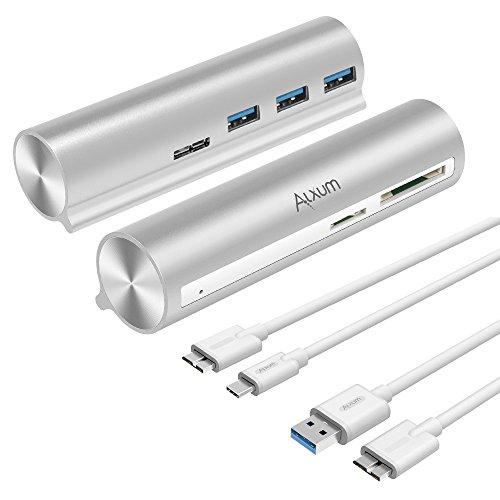 3.1Gen. 1Typ C/USB C bis USB 3.03-Port-Daten Hub mit SD, Micro SD, TF Kartenleser für neue MacBook, Chromebook Pixel, HP Pavilion X2, Asus Zen AIO und PC (Powered-usb-3-hub Mit Ladegerät)