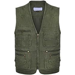 Gilet de plein air,Veste sans manches multi-poches pour hommes,Veste de sport devoyage,Photographie, pêche (Vert, XL)