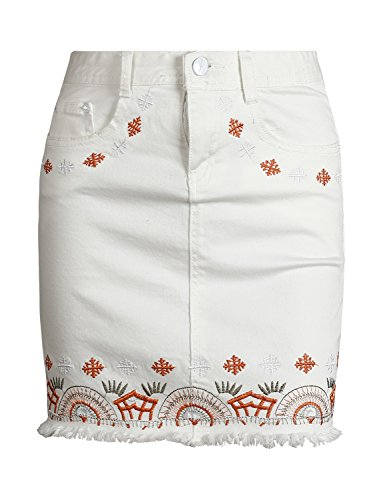 Simplee Apparel Damen Mini Rock Retro High Waist Bleistift Stickerei Denim Kurz Röcke Skirt mit Taschen 2 Farben Weiß