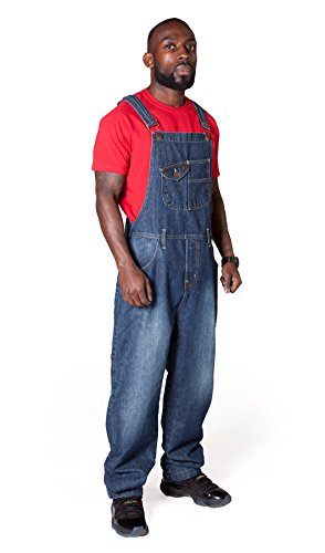 USKEES Stevie Loose Fit Mens Dungarees Dark Wash Blue Denim Bib Overalls STEVIEDW-S-W32