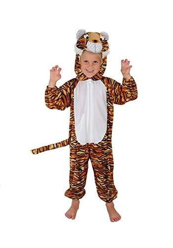 Reißverschluss Kostüm Gesicht - Tiger Kinder Kostüm 110 - 116 für Fasching Karneval Rummelpott Kinderkostüm