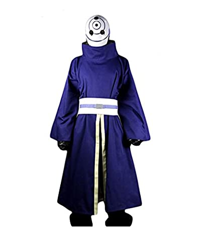 Fuman NARUTO Akatsuki Ninja Tobi Obito Madara Uchiha Cosplay Kostüm Für Erwachsene Herren Lila(Ohne Mask) (Madara Uchiha Kostüm)