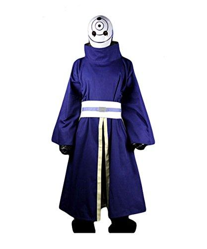 Fuman NARUTO Akatsuki Ninja Tobi Obito Madara Uchiha Cosplay Kostüm Für Erwachsene Herren Lila(Ohne Mask) (Kostüm Cosplay Tobi)