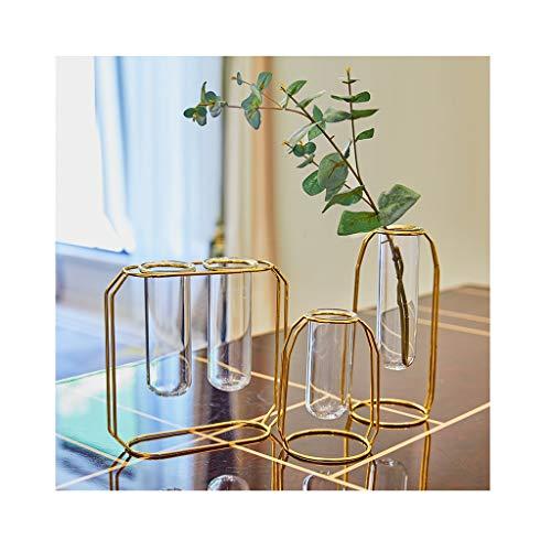 ZHING Blumenvase Glass Herzstück Vasen Mit Metallständer Zylinder Klar Vasen (Set Von 3 Stück) (Zylinder Vase Herzstück)
