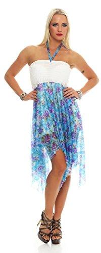 Fashion4Young - Robe - Femme Grün Multicolor Bleu