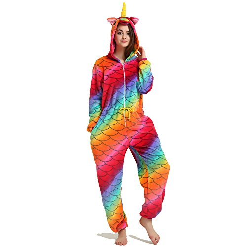 Crazy lin Unicorn Karikatur Overalls Pyjama Nachtwäsche Nacht Kleidung Dress Up, Maskerade Partei Kostüme Für Erwachsene (XL, Kordelzug Fischschuppen)