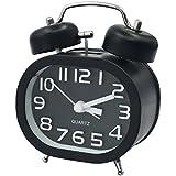 "Reloj Despertador Coolzon® 3"" Retro Relojes Analógico de Cuarzo Silencioso Despertadores Alarma Fuerte sin Tic Tac con Luz Nocturna y Campana Doble (Negro)"