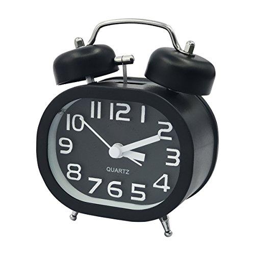Klares Glas Glocke (Coolzon® Analoge Wecker 3 Zoll Doppelglockenwecker Quarzwecker Kein Ticken Geräuschlos Wecker Laut Alarm Clock Batteriebetrieben Glockenwecker mit Nachtlicht (Schwarz))