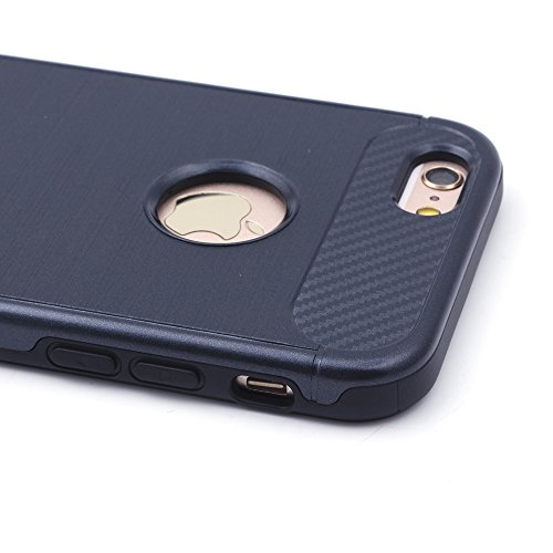 iProtect TPU Schutzhülle Apple iPhone 6, 6s Carbon Case brushed rot Schwarz