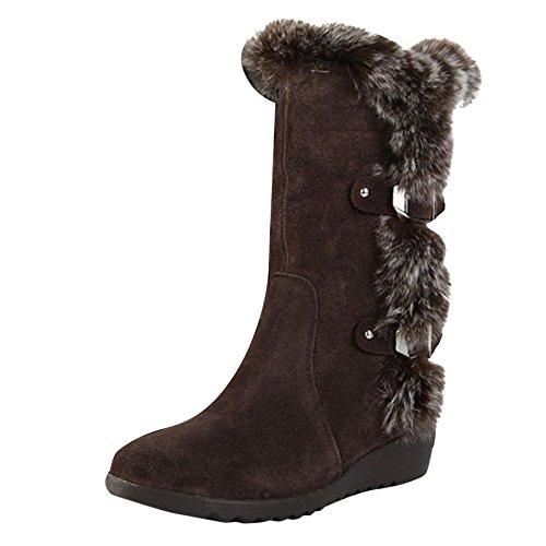 Mee Shoes Damen Niedrig Hase Pelz runder toe simpel Stiefel Braun