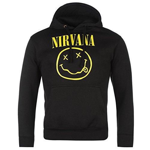 Ufficiale Nirvana-Smiley-Felpa con cappuccio felpa con cappuccio nero XL