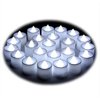 24* LED Candles Lights Mini Mood Plastic Tealights- Realistic Flameless Candles for Decorations Festivals Weddings with Batteries (White)
