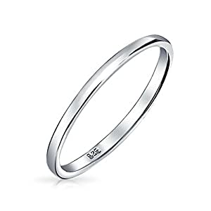 Bling Jewelry .925 Sterling Silver Wedding Band Thumb Ring Toe 2 millimetri