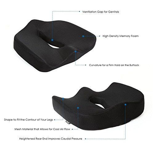 Naipo Memory Foam Seat Cushion Coccyx Orthopedic Comfort Foam Seat Cushion Car Seat Cushion Lower Back Lumbar Tailbone Sciatica Pain Relief Seat Cushion Office Chair seat Cushion Ergonomic Design with Cool Mesh Fabric for Home Office Car Chair Black