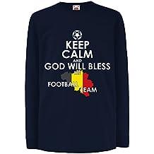 Camisetas de Manga Larga para Niño Dios bendecirá Al Equipo de Fútbol Belga, ...