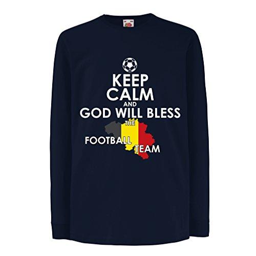 Kinder-T-Shirt mit Langen Ärmeln Gott Wird Die Belgische Fußballmannschaft, Die Belgische Flagge segnen (12-13 Years Blau Mehrfarben) (T-shirt Startelf)