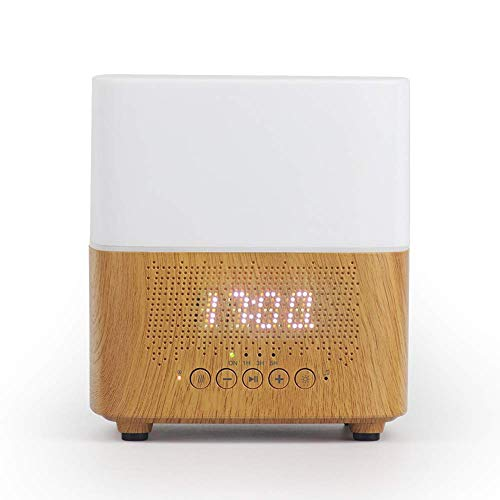 IW.HLMF Wecker ABS + PP Bluetooth Lautsprecher Mute Aromatherapie Maschine Befeuchter Third Gear Timing Color Night Light Bedroom Office-USB Charging