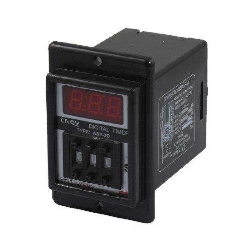 Aexit AC 220V 0.1-99.9 Skunde Digital- Timer Zeitverzögerung Relais Schwarz 8 Pin ASY-3D