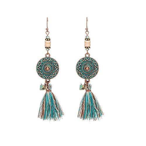 Sunwd Ohrringe, Antique Vintage Bohemian Ethnic Tassel Fringe Leaf Stones Earrings For Women Girls Anniversary Wedding Party Jewelry Charms E020232 -
