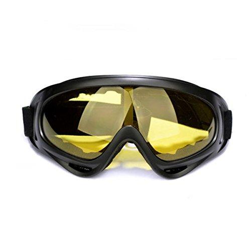 LUXIAO Winddicht staubdicht und Anti-UV-Outdoor-Sport-Brille Reiten Fahrrad Motorrad Sportbrillen Ski Schutzbrille (Gelbe Linse)