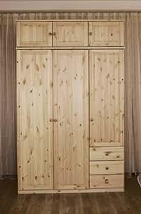 kleiderschrank schrank schlafzimmerschrank landhausstil kiefer massiv farbe gebeizt ge lt. Black Bedroom Furniture Sets. Home Design Ideas