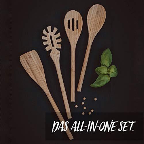 BASIL | Holz Küchenhelfer Set im praktischen 4er Set | Natürliche Bambus Küchenutensilien | Holz Kochgeschirr inklusive Kochlöffel, Pfannenwender, Suppenkelle, Salatbesteck | Küchenbesteck - 5