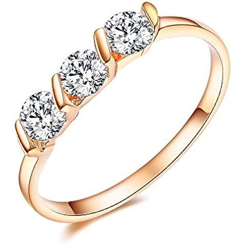 NewBox 3pcs 0.25carat tensión CZ cristal 18ct Rose chapado en oro compromiso anillos de boda